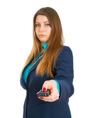 Young business woman and remote control panel TV