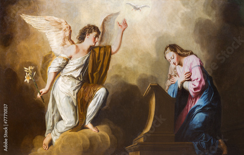 Leinwanddruck Bild Vienna - Annunciation paint in presbytery of Salesianerkirche