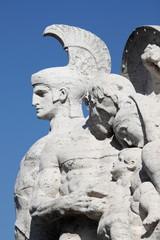 Statue on Victor Emmanuel II bridge in Rome, Italy