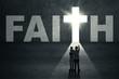 Family in front of faith door