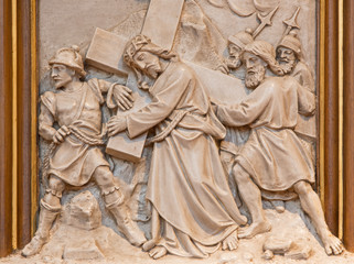 Vienna - Simon of Cyrene help Jesus to carry his cross.