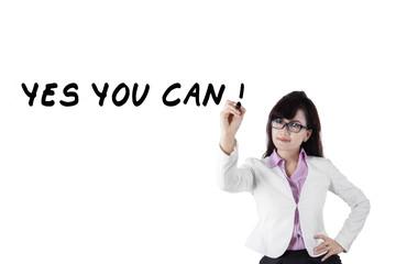 Female motivator writes advice words 2