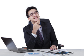 Young entrepreneur daydream at workplace