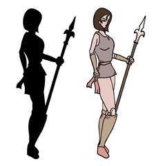 Warrior woman shadow