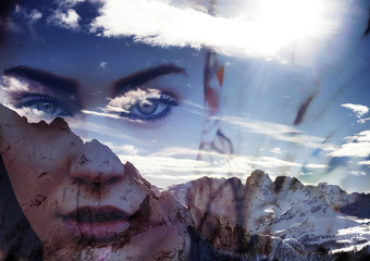 Double exposure of girl portrait and mountain