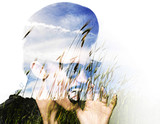 Double exposure of punk girl screaming and wheat