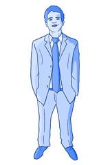 Blue jacket man