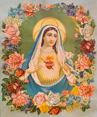 The Heart of Virgin Mary in the flowers - typical catholic image © Renáta Sedmáková