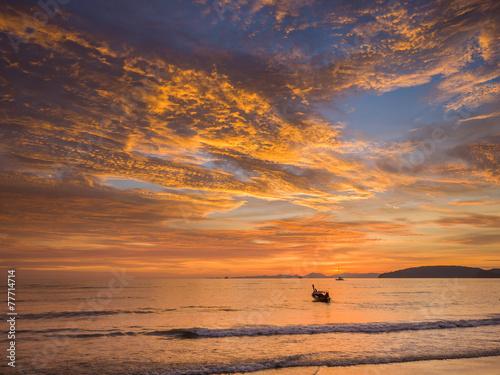 Leinwanddruck Bild Sunset on the beach of Ao Nang