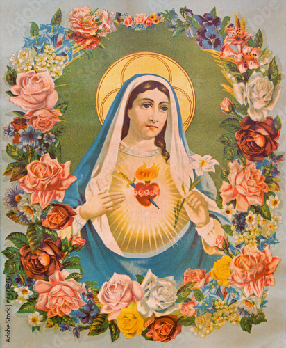 The Heart of Virgin Mary in the flowers - typical catholic image - 77714717