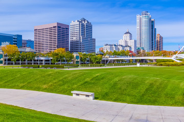 Skyscrapers, skyline and grassy park of Milwaukee,WI (P)