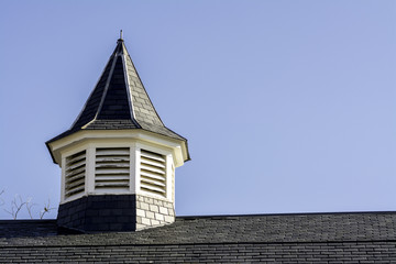 Old barn roof with black shingles