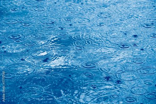 canvas print picture Regentropfen und Wasserringe