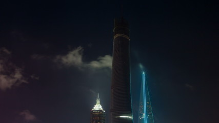 night cloudy sky view on shanghai towers 4k time lapse