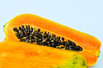 Fresh and tasty papaya isolate on white