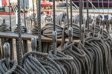Marine knots and ropes in the tallship