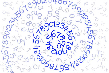 An abstract background with spiral line of numbers in blue
