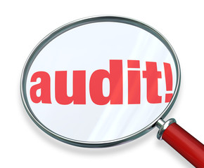 Audit Word Magnifying Glass Tax Accounting Bookkeeping Rules Law