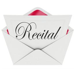 Recital Word Invitation Dance Music Concert Performance Ticket P