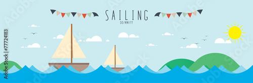 Fototapeta Sailing on the sea.