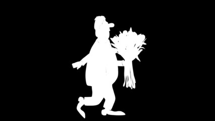 Cartoon businessman brings a bouquet of tulips