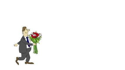 Cartoon businessman brings a bouquet of tulips.