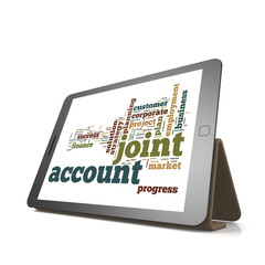 Joint account word cloud on tablet