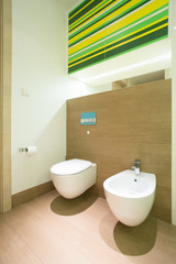 Modern bathroom with toilet and bidet