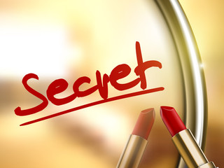 secret word written by red lipstick