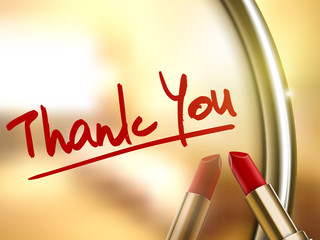 thank you words written by red lipstick