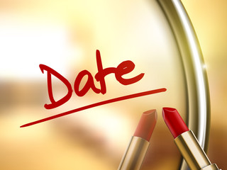 date words written by red lipstick