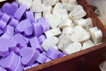 Bars of soap in the shape of heart