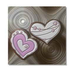 Metallic hearts on textured circular background
