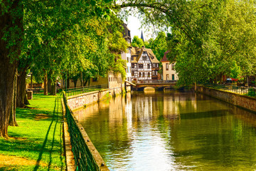Strasbourg, water canal in Petite France area, Unesco site. Alsa