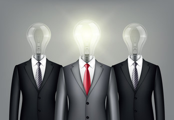 successful leadership  in suit with a light bulb instead of head