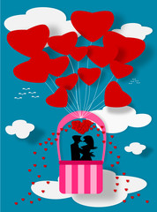 Couple love on balloon Illustration