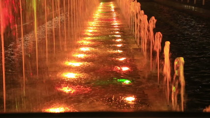 Multicolor fountains by night