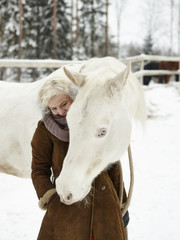 White horse and woman
