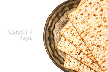 Matzo on vintage plate for passover holiday