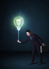 Businessman with an idea bulb