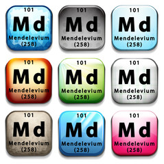 An icon with the chemical element Mendelevium