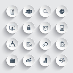 16 business trendy round icons vector illustration, eps10