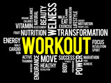 WORKOUT word cloud, fitness, health concept