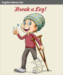 A boy with a broken leg