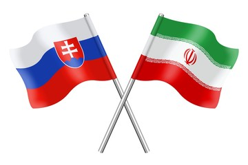 Flags: Slovakia and Iran