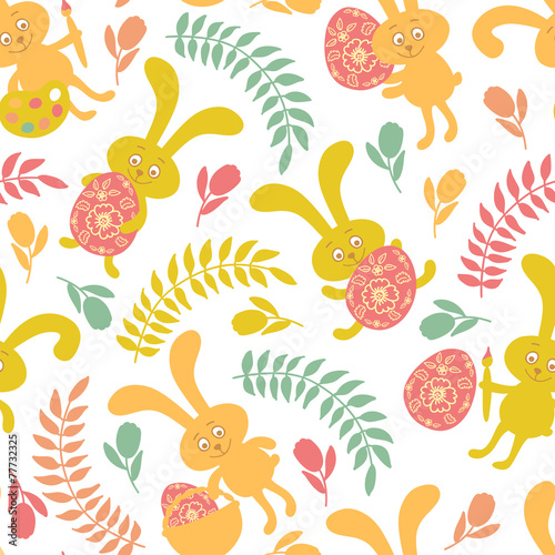 Materiał do szycia Seamless pattern of Easter bunnies