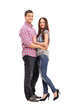 Young couple hugging and posing