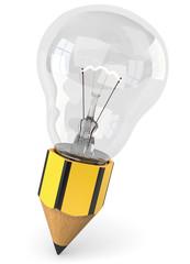 Bleistift Glühbirne schräg