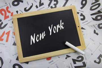 New York auf ein Tafel geschrieben