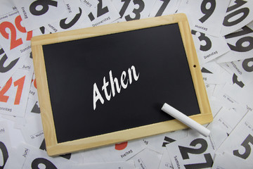 Arhen auf eine Tafel geschrieben